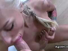 Tattooed busty non-professional fucks on casting pov