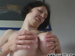 Amateur show one's age with big tits sucks paired with fucks