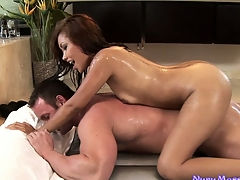 This sweltering stud is a big fan of Nuru massage and it's thimbleful delight with this hot Asian indulge
