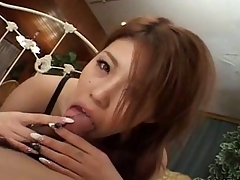 Super Japanese give a finished handjob and blowjob
